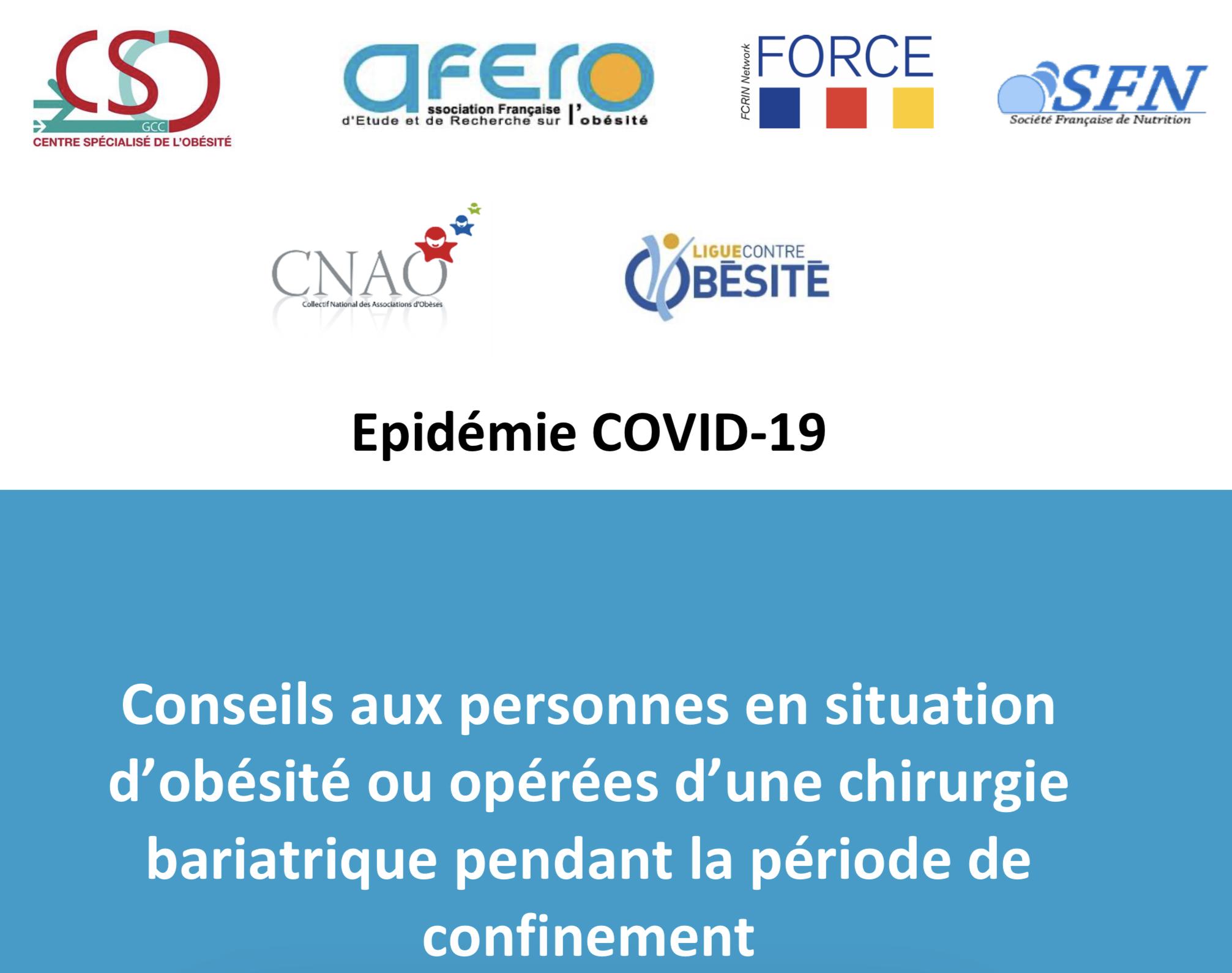 Coronavirus : les conseils de la Ligue contre l'obésité et de l'Afero aux patients en situation d'obésité ou opérés d'une chirurgie bariatrique