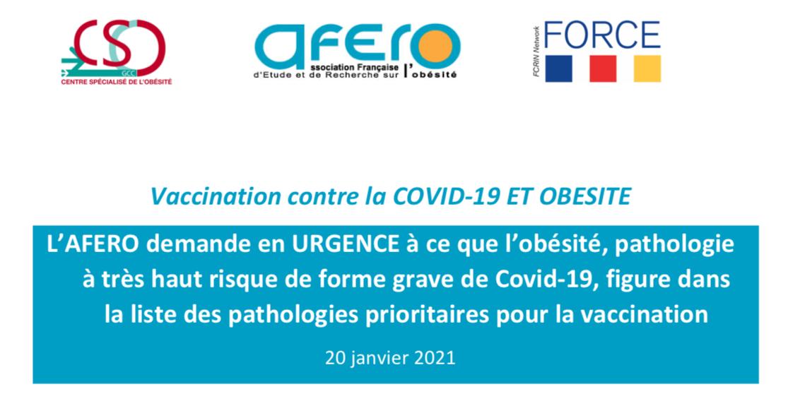 L'association française d'étude et de recherche sur l'obésité estime que tous les moyens nécessaires doivent mis en œuvre pour accélérer la campagne de vaccination, afin que toutes les personnes en situation d'obésité qui le souhaitent puissent se faire vacciner le plus rapidement possible. Elle rappelle que l'obésité est une pathologie à très haut risque de forme grave de Covid-19, notamment chez les plus jeunes.